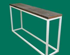 Reclaimed Wood Console Table Lower Shelf Metal Legs di wwmake