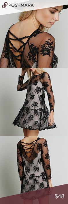 "Swingy Floral Lace DRESS Black Scalloped Lined BRAND NEW!! Stunning delicate lace dress with all over Floral detailing + scalloped hem. Swingy skirt, and nude slip featuring adjustable straps.   S: Bust: 33.27""/Length: 32.87"" M: Bust: 35.43""/Length: 33.86"" L: Bust: 37.81""/Length: 34.67"" XL: Bust: 39.28""/Length: 35.48""  Item is Brand New, direct from the Manufacturer, & Sealed in Pkg.  Dresses"