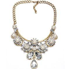 Best Christmas Gift Colorful Glass Crystal Flower Pendants Teardrop Statement Necklace Women Bijoux Bride Wedding Jewelry