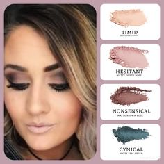 Do you want to recreate this look? Choose all #matte colors: peachy nude (timid), dusty rose (hesitant), brown rose (nonsensical) and teal green (cynical). Build your own quad at www.taniaslashes.com #younique #taniaslashes #falllook #smokeyeye #warmtones