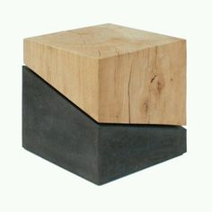 CMF we like / Qube / Wood / Concrete / Material Combination / Cut / Minimal / Sculptural / at Design Binge