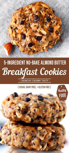 No-Bake Almond Butter Breakfast Cookies [ A Vegan, Dairy Free, + Gluten Free Recipe ] These super simple, No-Bake Almond Butter Breakfast Cookies are gluten-free, dairy-free and vegan making them the worlds most versatile cookie. Dairy Free Snacks, Dairy Free Breakfasts, Healthy Gluten Free Recipes, Gluten Free Baking, Gluten Free Desserts, Gluten Dairy Free, Dairy Free Recipes For Kids, Gourmet Recipes, Beef Recipes