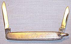 Antique grooming knife gold filled engraved Edwardian