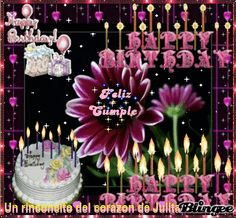 Feliz cumplean'os Happy Birthday Chocolate Cake, Birthday Cake Gif, Happy Birthday Cake Images, Happy Birthday Wishes Quotes, Happy Birthday Celebration, Happy Birthday Flower, Birthday Tags, Happy Birthday Gifts, Happy Birthday Greetings