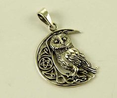 sterling silver pendant owl on moon with by LisaParkerdesigns, £22.00