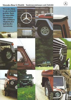 Mercedes-Benz G-Modelle Brochure Cover. Mercedes G Wagen, Mercedes Benz, Benz G, Brochure Cover, Car Advertising, G Wagon, Spare Parts, Vintage Ads, Car Accessories