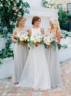 Elegant gray bridesmaid gowns: http://www.stylemepretty.com/2016/03/15/neutral-elegant-outdoor-wedding-inspiration/ | Photography: Greer Gattuso - http://www.greergphotography.com/
