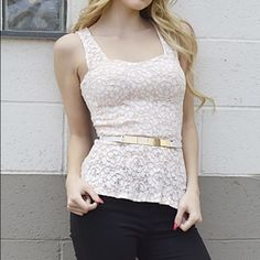 SALEFloral lace top Brand new. Fits true to size. Sleeveless floral lace top with sleek belt embellishment. 97% cotton 3% spandex Boutique Tops Blouses