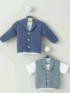 Waistcoat, V Neck Cardigan And Cardigan - hadido Knitting Patterns Boys, Knitting For Kids, Hand Knitting, Gingham Quilt, Crochet Wool, Crochet For Boys, Baby Cardigan, Baby Sweaters, Pullover