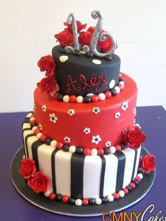 Sweet 16 Red and Black Cake