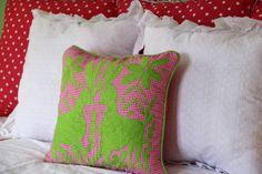 "Lime green on fuchsia Gingham hand embroidered Otomi Sham Scarlett ""O"" – Casa Otomi Mexico, Tenango, wedding, textile, mexican suzani, embroidery, hand embroidered, otomi, fiber art, mexican, handmade,  casa, decor, interior, frida, kahlo, folk,  folk art, house, home, puebla, las flores, cushion, serape, preppy, gingham, polka dots, pink, lime, green, lily pulitizer, pouf, elle decor, boho, style, bestey johnson, lily pultizer, interior, stripes, southern living, southern style,"