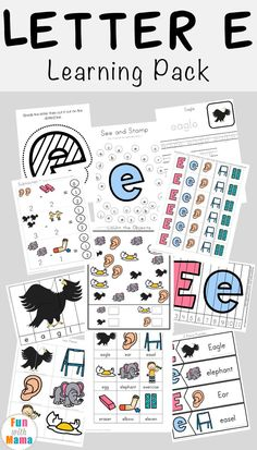 This free Letter E worksheets pack focuses on the letter e, letter e sounds and letter e words. It is another addition to our Free alphabet ABC Printable Packs. Each activity pack is filled with fun activities, worksheets, clip cards and Letter E Worksheets, Letter E Activities, Homeschool Worksheets, Toddler Activities, Kindergarten Activities, Homeschooling, Jungle Activities, Literacy Games, Pre Kindergarten