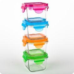 4 Contenants en verre 210 ml (7 oz) - Assortis