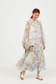 Szyfonowa sukienka we wzory - Biały/Kwiaty - ONA   H&M PL 3