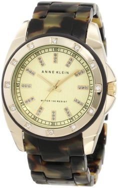 Anne Klein Women's 10/9988CHTO Gold-Tone Tortoise Resin Bracelet Watch - 10/9988CHTO, Anne, bracelet, GoldTone, Klein, Resin, Tortoise, Watch, Women's - http://designerjewelrygalleria.com/anne-klein-jewelry/anne-klein-womens-109988chto-gold-tone-tortoise-resin-bracelet-watch/
