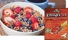 Ezekiel Sprouted Whole Grain Cereal Most like our World Famous original Ezekiel Bread - this cereal has a simple flavor and can be used as a topping for yogurt, ice cream or as a snack. Health Breakfast, Healthy Breakfast Recipes, Healthy Snacks, Eating Healthy, Healthy Eats, Healthy Living, Ezekiel Cereal, Healthy Cereal, Cereal Food