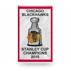 CHICAGO BLACKHAWKS (6-FLAG) STANLEY CUP CHAMPIONS 3X5 VERTICAL BANNER FLAG COLLECTION
