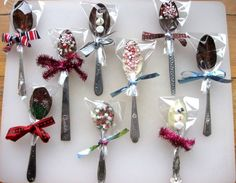 Looking for the perfect stocking stuffer? These delicious vintage chocolate dipping spoons are perfect for holiday gift giving and cost under $10 bucks. Use them to dip in hot chocolate or to spruce up your favorite coffee or latte. I've been collecting these spoons for a while now. The best place to find them is garage sales, estate sales, thrift stores & antique shops. Don't pay more than $1.00 for each spoon. I have found them for as low as 10 cents and bought 3 vintage spoons together...