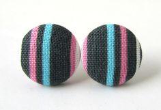 Stud earrings button post stripes blue pink gray by KooKooCraft, $9.50