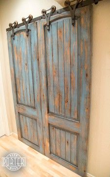 Sliding Paneled Door   Distressed Ignite Finish    Outside View / Doors  Closed