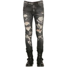 Rta Men 16.5cm Destroyed Stretch Denim Jeans ($760) ❤ liked on Polyvore featuring men's fashion, men's clothing, men's jeans, dark grey, mens torn jeans, mens ripped jeans, mens faded jeans, mens chains and mens button fly jeans