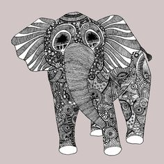 Ornate Elephant Art Print Home Decor by LushTartArtProject