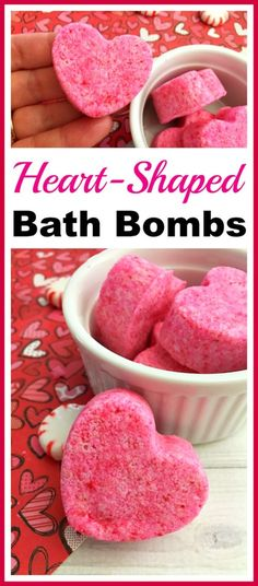 Heart-Shaped Bath Bombs- These cute DIY heart-shaped bath bombs would make lovely gifts for Valentine\'s Day, Mother\'s Day, or birthdays! And they\'re so quick and easy to make! | pink, homemade, handmade, homemade gift, handmade Christmas gift, handmade Valentine\'s Day gift, homemade beauty product, DIY beauty, #diy, #ValentinesDay #bathBomb #beauty