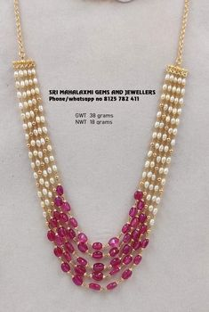 5 lines rubies and south sea pearls chain made in 916 BIS Hallmarked Gold. Visit us for full range at most competitive prices. Contact no 8125 782 411 Pearl Necklace Designs, Jewelry Design Earrings, Bead Jewellery, Beaded Jewelry, Jewelery, Jewellery Designs, Pearl Jewelry, Indian Jewelry, Gold Jewelry