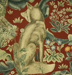 How about this for drapes or a bed cover? Forest Linen A tapestry inspired fabric depicting a forest scene with peacocks, hares and foxes set amongst scrolling acanthus leaves. Digitally printed on a rich red background with gold, greens and blues.