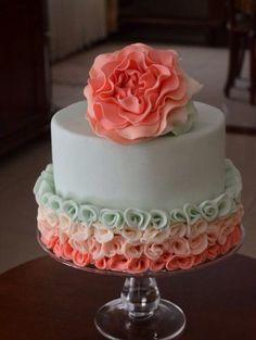 Teal and salmon ruffle cake