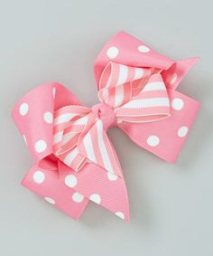 Picture Perfect Hair Bows Hot Pink Polka Dot Layered Bow Clip
