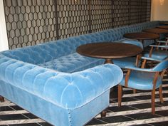 Cecconi's opened its doors this week in West Hollywood at the corner of Melrose Avenue and Robertson Boulevard, on the former site of the iconic Morton's Restaurant. As they have done for previous Soho House projects, George Smith collaborated with the restaurant's designer and provided the custom turquoise mohair U-shaped Chesterfield that fills a third of the dining room.