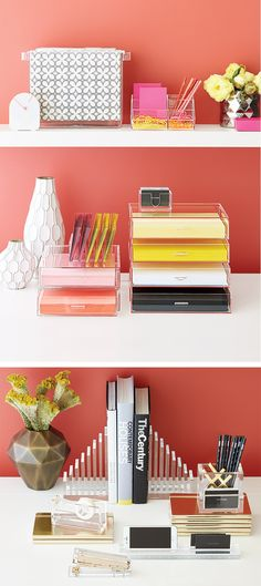 Our Clear Acrylic Desktop Collection lets your accessories shine on their own!
