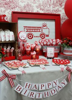 Girl firetruck dessert table