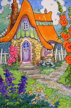 """Somewhere it is Always Summer - Storybook Cottage Series"" by Alida Akers Art And Illustration, Watercolor Illustration, Watercolor Art, Cute Cottage, Cottage Art, Cottage House, Storybook Cottage, Arte Popular, Fairy Art"