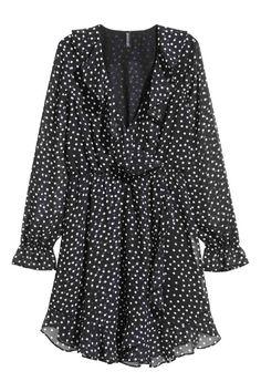 Vestido cruzado - Negro/Lunares - MUJER | H&M ES