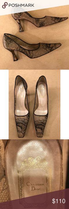 Christian Dior nude and black lace heels Worn only once. Excellent condition. Christian Dior Shoes Heels