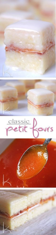 These scrumptious little bite sized desserts are far easier than they look, and I'll take you step-by-step through making them! Classic Petit Fours - Almond Frangipane cake, Sweetened Ricotta and fresh Apricot reduction. Impress everyone at your next gathering. #petitfour #dessert #party