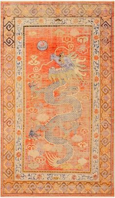 Khotan Rug:  Origin:The ancient city of Khotan (Hotan) in the southern region of Xinjiang (Chinese Turkistan). Size: Traditional Khotan rugs are longer and narrower than standard rugs Colors: Can be rich and warm (deep reds and golds) or light and pastel (pale pinks and light grays) Design: Incorporates Chinese and central Asian influences, stylized geometric and floral patterns