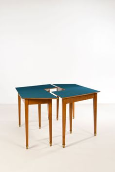 Ico Parisi Attributed; Wood, Brass and Laminate Interlocking Console Tables, 1950s.