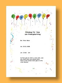Vorlage Einladung Kindergeburtstag