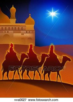 The three wise men on camels through the desert with the Star of Bethlehem and Jerusalem in the background View Large Illustration