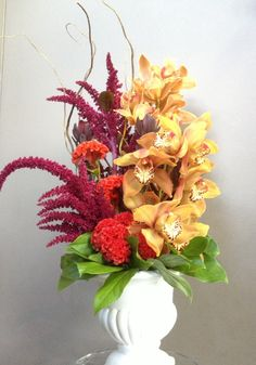 Orchids, amaranth, celosia
