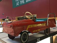 vintage AMF Fire Fighter pedal car needs TLC or restoration. Missing a pedal, a bracket, both ladders, and the clapper from the bell. You loved it as a child,  you can love it again today! $160 above Case 242