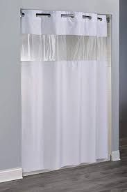 White Shower Curtain With Clear Panel Google Search Hookless
