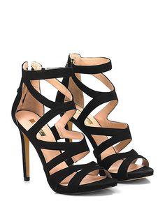 GUESS - Sandalo alto - Donna - Sandalo alto in nabuk con zip su retro e cinturino alla caviglia. Suola in gomma, tacco 110, platform 10 con battuta 100. - BLACK - € 170.00