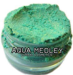 Aqua Medley SAMPLE SIZE Mini Jar Aqua Blue-Green Sky Ocean Blue Gold Copper Glitter Natural Mineral Eyeshadow Mica Pigment Lumikki Cosmetics...