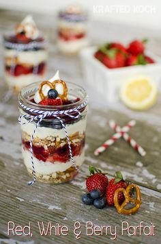 Red, White & Blue Berry Parfait  use your favorite brand gluten free pretzel and your choice of gluten free dairy free cream cheese and yum!