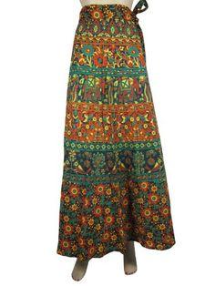 Indian Vintage Poly Silk Long Skirt Women Wrap Bohemian Skirt Gypsy Hippie Boho Double Layer Recycled Wrap Skirt GBLW-213