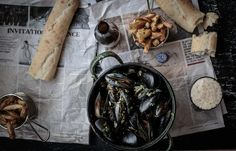 What could be better than traditional Belgian moules frites on a cold winter's day? Freshly steamed mussels served in a white wine and garlic sauce and served with a side of crispy fries! | Anisa Sabet | Food Photography | Food Styling | The Macadames